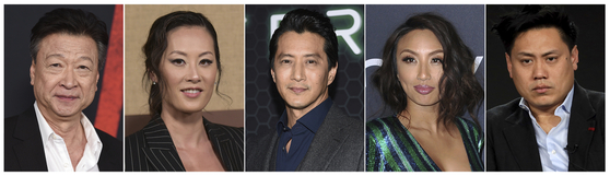 Asian-American actors, from left, Tzi Ma, Olivia Cheng, Will Yun Lee, Jeannie Mai and Jon M. Chu, speak about the rise in hate crimes due to the outbreak of Covid-19, which is believed to have originated in Wuhan, China. [AP/YONHAP]