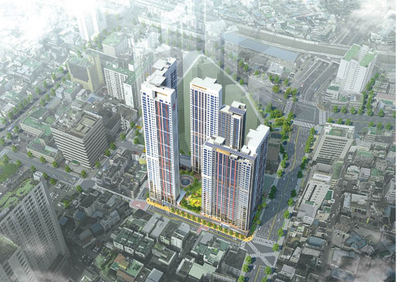 The photo shows an aerial view of Hillstate Dongin Central which is located in Jung District, Daegu. [HYUNDAI E&C]
