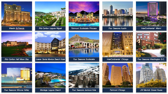 Images of the 15 luxury hotels in the United States that were slated to be sold to Mirae Asset Global Investments. [Mirae Asset Global Investments]