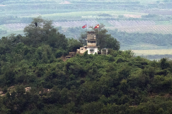A North Korean guard post at the DMZ at Paju, Gyeonggi. [YONHAP]