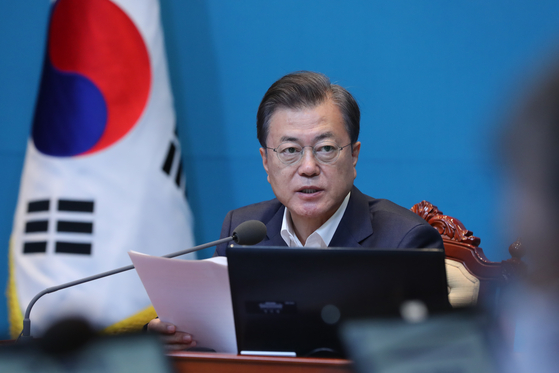President Moon Jae-in speaks at a meeting with his senior aides in Seoul on Monday. [YONHAP]
