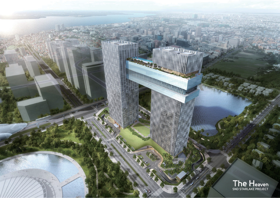 Rendered image of SND Starlake Project that Lotte Engineering & Construction is building in Hanoi, Vietnam. The Korean construction firm is planning to break ground in October. [LOTTE ENGINEERING & CONSTRUCTION]