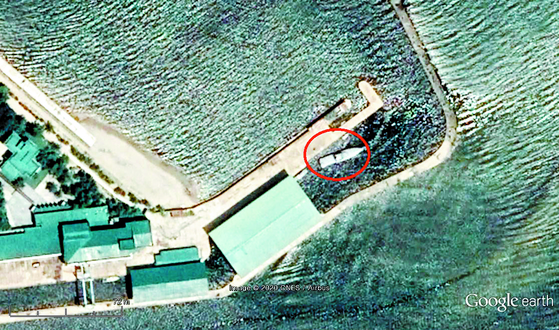 Satellite imagery shows North Korean leader Kim Jong-un's yacht pictured off the coast of Wonsan in Kangwon Province on July 22, 2019. [GOOGLE EARTH]