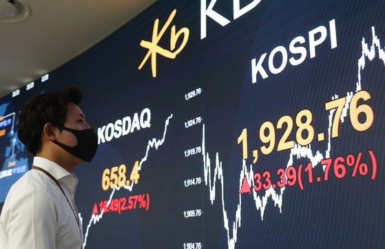 A man wearing a face mask looks at the Kospi index Wednesday displayed on a screen in the dealing room of Hana Bank located in Jung-district, central Seoul. Kospi gained 33.39 pointS or 1.76 percent to close at 1928.76. [YONHAP]
