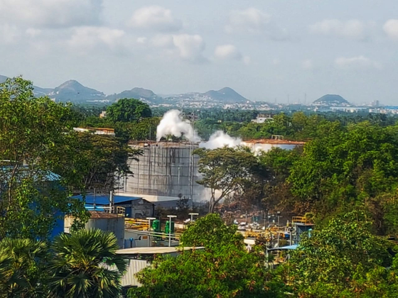 A view of LG Chem's chemical plant in Visakhapatnam, India. [SCREEN CAPTURE]