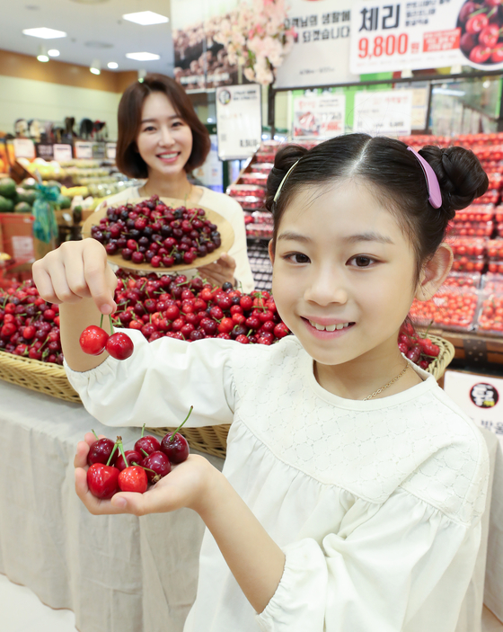 Models pose with baskets of California cherries Thursday at Lotte Mart's Seoul Station branch, central Seoul. The discount chain is offering cherries from Thursday. [YONHAP]