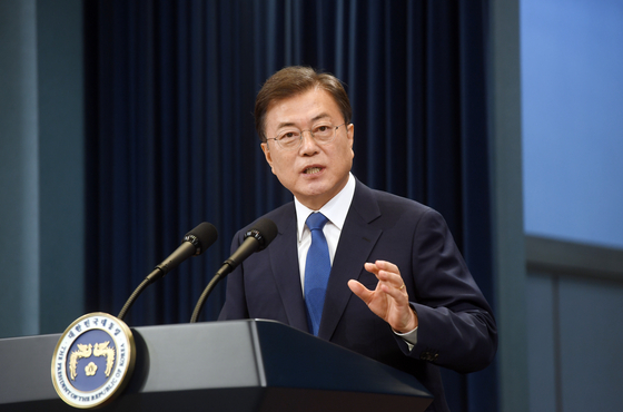 President Moon Jae-in delivers a public address at the Blue House Sunday marking his third year in office. [YONHAP]