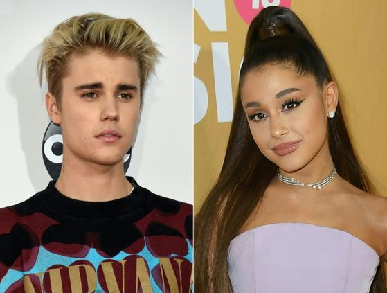 Justin Bieber and Ariana Grande [AFP]