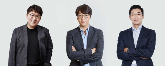 Big Hit Entertainment's chief management, from left: Chairman Bang Si-Hyuk, Global CEO Yoon Seok-jun, HQ CEO Park Ji-won. [BIG HIT ENTERTAINMENT]