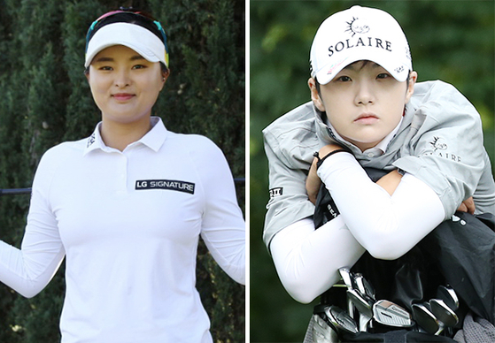 World No. 1 Ko Jin-young, left, and No. 3 Park Sung-hyun will compete at the Hyundai Card Super Match on May 24 at Sky 72 Golf & Resort. [JOONGANG PHOTO]