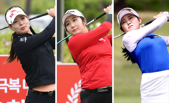 From left: Kim Char-young, Bae Seon-woo and Hyun Se-lin watch their shots during the first round of the 42nd LPGA Championship at the Lakewood Country Club in Yangju, Gyeonggi, on Thursday. [NEWS1/KLPGA]