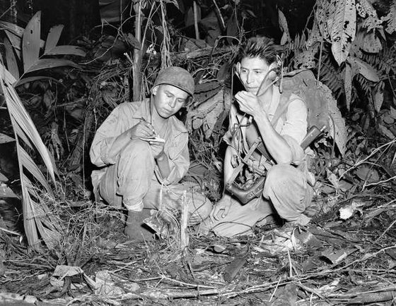 Navajo code talker troops photographed during World War II. [UNITED STATES MARINE CORPS]