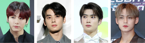 Four celebrities were said to have visited Itaewon last month. From left are: Jungkook of boy band BTS, actor and singer Cha Eun-woo of Astro, Jaehyun of NCT and Minkyu of Seventeen. [ILGAN SPORTS]