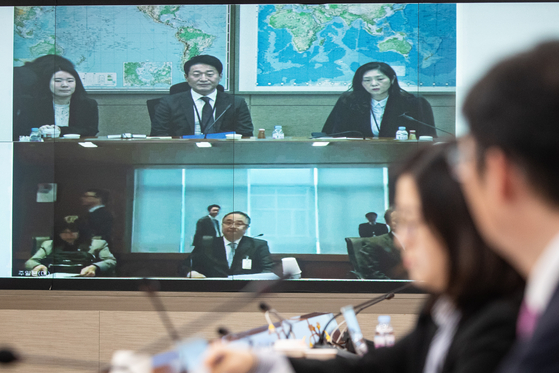 Lee Ho-hyeon, a senior representative of Korea's Ministry of Trade and Industry, waits for the start of a teleconference on March 10 with his Japanese counterpart Yoichi Ida about Tokyo's export restrictions on strategic items. [NEWS1]