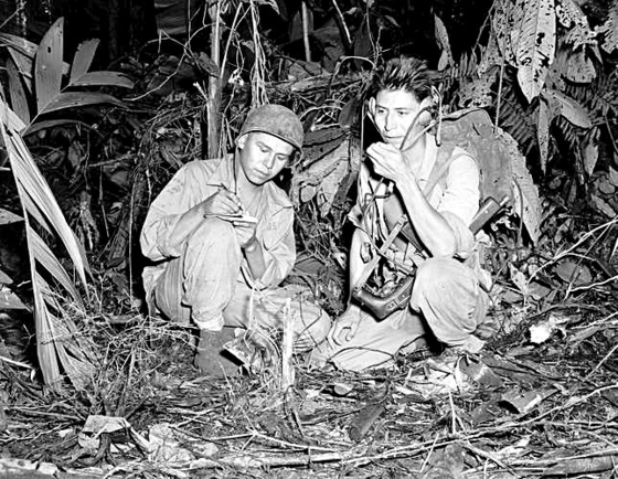 Navajo soldiers served as code talkers for the U.S. forces during World War II. [U.S. MARINE CORPS]