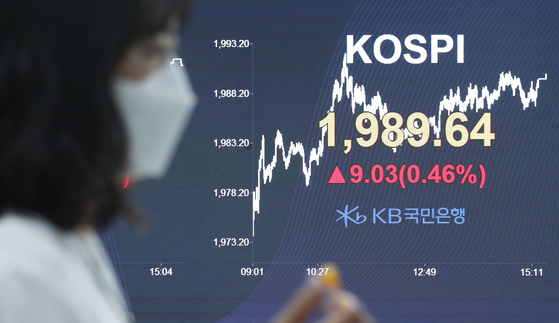 The closing Kopi is displayed on the screen in the dealing room of KB Kookmin Bank, located in the financial district of Yeouido, Wednesday. [YONHAP]