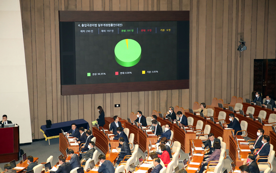 Lawmakers vote on an amendment to the Immigration Control Act at the final plenary session of the 20th National Assembly on May 20. [YONHAP]