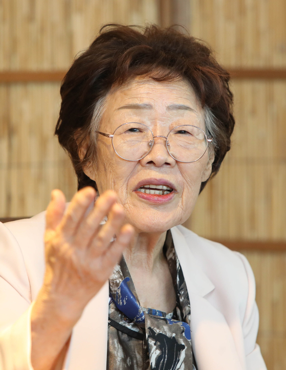 Lee Yong-soo, a 91-year-old survivor, held a press conference on May 7 in Daegu and accused the Korean Council and Yoon Mee-hyang for exploiting the victims for 30 years. [YONHAP]