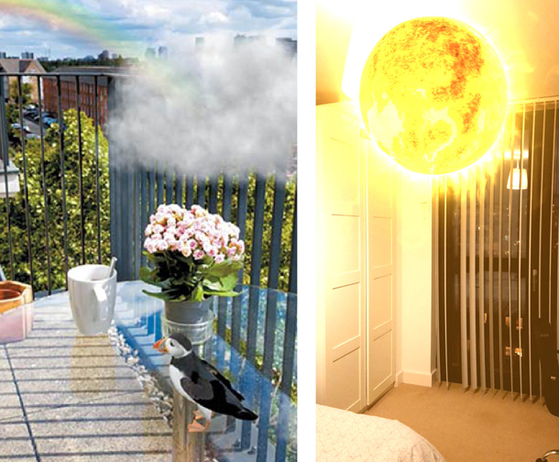 A cloud, rainbow and puffin and a sun created in the reporter's London home through the use of the Wunderkammer app hosted by Acute Art. [MOON SO-YOUNG]