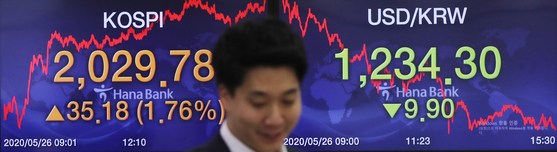 A screen in the dealing room of Hana Bank in Jung District, central Seoul, shows the benchmark Kospi after the closing of the market on Tuesday, with the Kospi recovering the 2,000-point mark. The index rose 1.76 percent on Tuesday from the previous day's closing, at 2,029.78 points. [YONHAP]