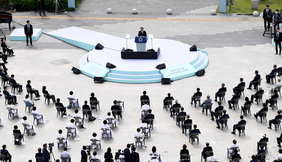 President Moon Jae-in delivers a speech to the people in Gwangju, South Jeolla, on the 40th anniversary of the May 18 Democracy Movement. [JOINT PRESS CORPS]