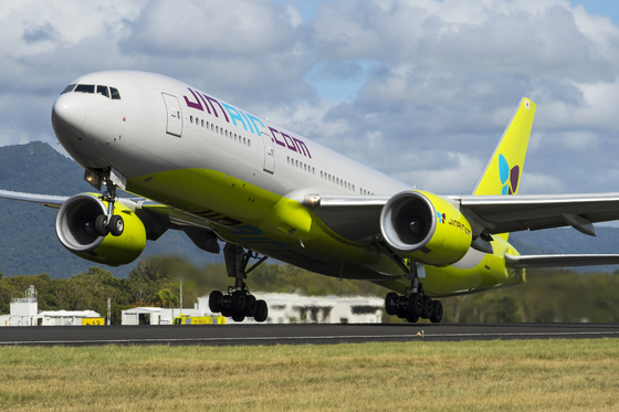 Jin Air's B777-200ER will fly to Bangkok and Taipei starting next month. [JIN AIR]