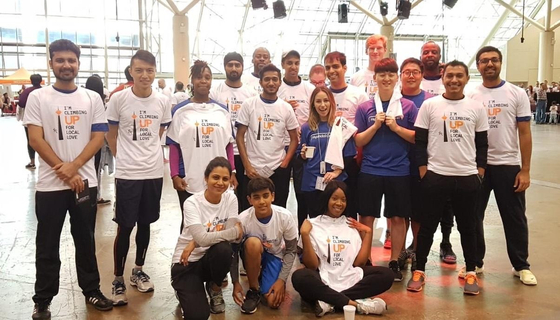 "Hyundai Capital Canada employees pose for a photo after participated in the 'CN Tower Climb"" event."
