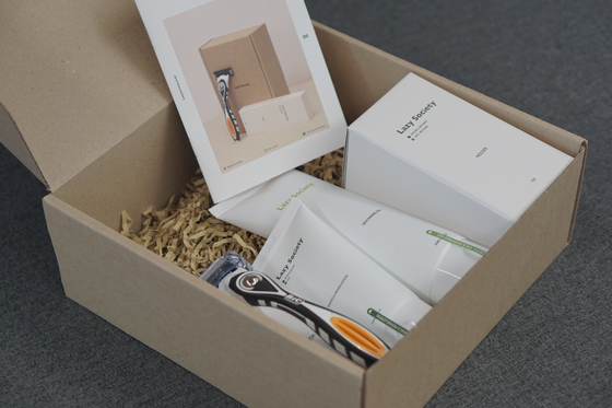 A subscription box from Lazy Society, a shaving equipment subscription service. [LAZY SOCIETY]