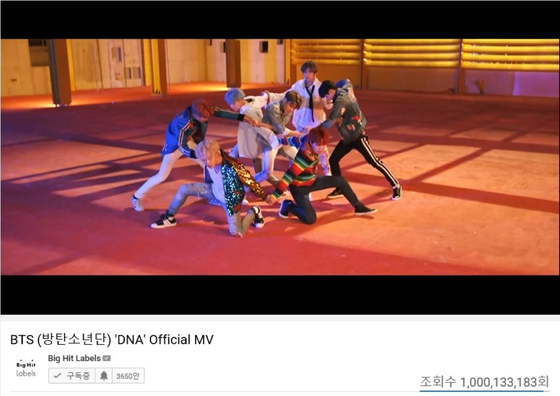 "BTS's ""DNA"" (2017) surpassed 1 billion views on YouTube. [BIG HIT ENTERTAINMENT]"