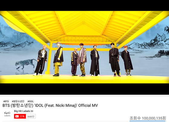"BTS's music video for ""Idol (Feat. Nicki Minaj)"" (2018) passed 100 million views on YouTube on Sunday. [BIG HIT ENTERTAINMENT]"