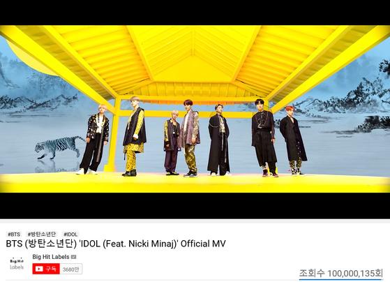 "BTS's music video for ""Idol (Feat. Nicki Minaj)"" (2018) passed 100 million views on YouTube on Sunday. [BIG HIT ENTERTAINMENT]"