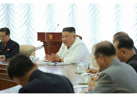 North Korean leader Kim Jong-un presides over a political bureau meeting of the ruling Workers' Party Central Committee on Sunday in a photo released by state media. [YONHAP]