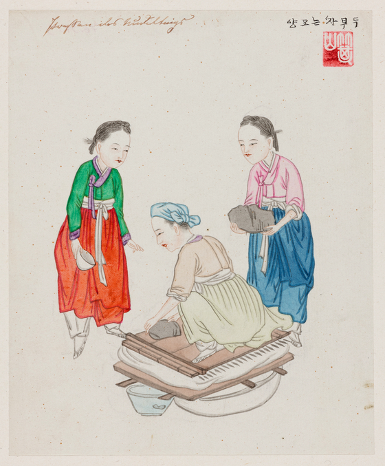 """""""Women Pressing Bean Curd"""" by Kim, dating back to the 1880s. [Museum at the Rothenbaum — Cultures and Arts of the World]"""