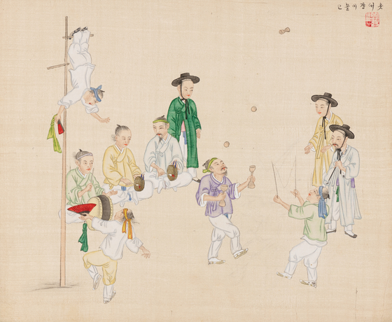 """""""A Pole Acrobat Performing"""" by genre painter Kim Jun-geun, who had sold nearly 1,500 works depicting everyday lives of Koreans in the 19th century, showcased at the special exhibition in National Folk Museum of Korea in central Seoul through October. [Museum at the Rothenbaum — Cultures and Arts of the World]"""