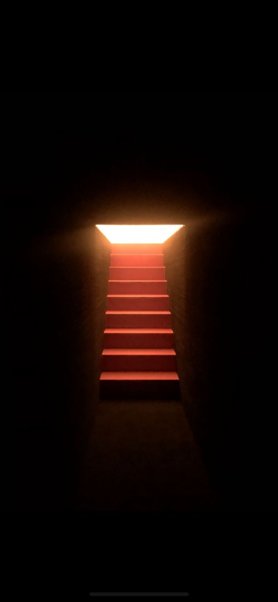 Visitors are guided to walk up the stairs, following the light. [FABRIKR]