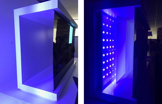 Left: A mock-up of the inside of LG's OLED TV, which displays images with organic light-emitting diodes. Right: A mock-up of Samsung's QLED TV, which requires a backlight for the LCD panel to display images. [KIM YOUNG-MIN]