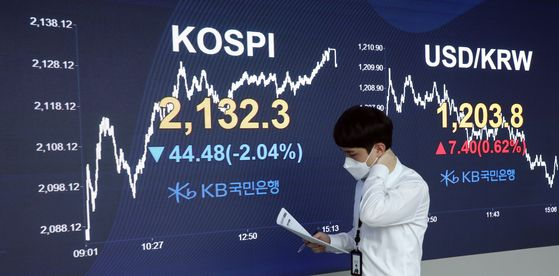 Employee looks at the screen in the dealing room of KB Kookmin Bank, in the financial district of Yeouido, western Seoul, Friday. [YONHAP]