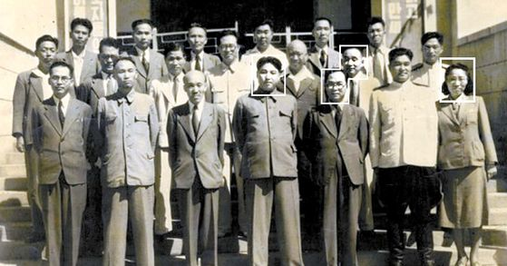 The North Korean leadership 70 years ago. Cadres marked with white squares from the left: Prime Minister Kim Il Sung, Foreign Minister Park Hon-yong, Financial Minister Choi Chang-ik and his former wife, Cultural Minister Mrs. Ho Jong-suk [FROM THE COLLECTION OF THE HUNGARIAN EMBASSY]