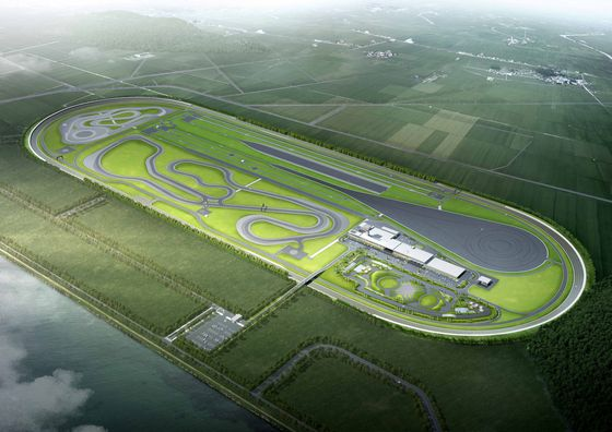 A computer-generated aerial view of Hankook Tire & Technology's proving ground in Taean, South Chungcheong. [HYUNDAI MOTOR GROUP]
