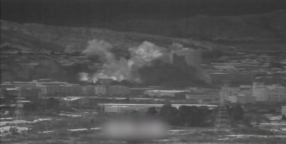 A screen capture from a video filmed by South Korean intelligence of the North's demolition of the inter-Korean liaison office at Kaesong on Tuesday. [MINISTRY OF NATIONAL DEFENSE]