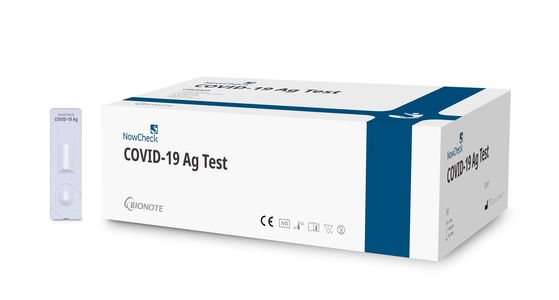 """The photo shows antigen test kit 'Covid-19 Ag Test"""" which Humedix will be providing to the global market. [HUMEDIX]"""