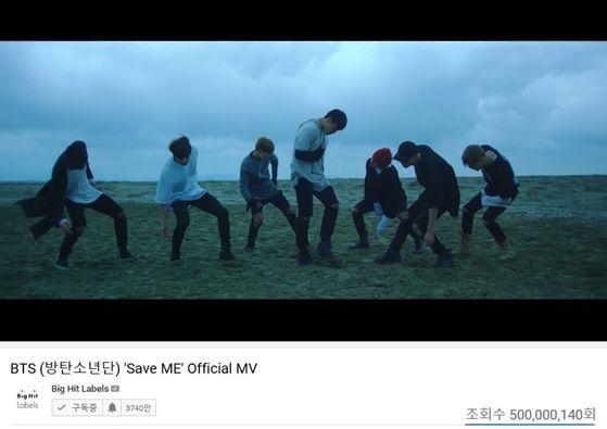 """BTS's """"Save Me"""" (2016) surpassed 500 million views on Monday. [BIG HIT ENTERTAINMENT]"""