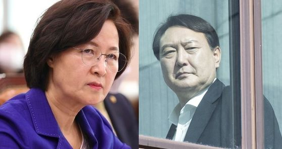 """Justice Minister Choo Mi-ae, left, and Prosecutor General Yoon Seok-youl, are feuding over what the government calls 'prosecutorial reforms."""""""