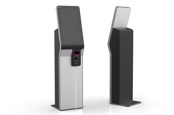 An illustrated rendering of a new digital kiosk designed to let customers register their mobile phones. [LG U+]