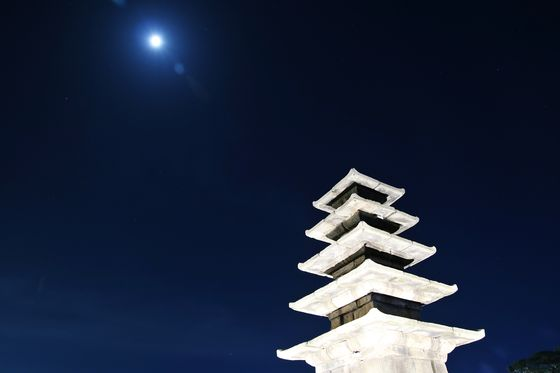 The night sky with a five-storied stone tower at Jeonglim Temple site in South Chungcheong. [KOREA TOURISM ORGANIZATION]