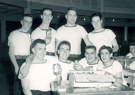 Bill Black, far right in second row, with other Canadian Cayuga stokers in 1953. [BILL BLACK]