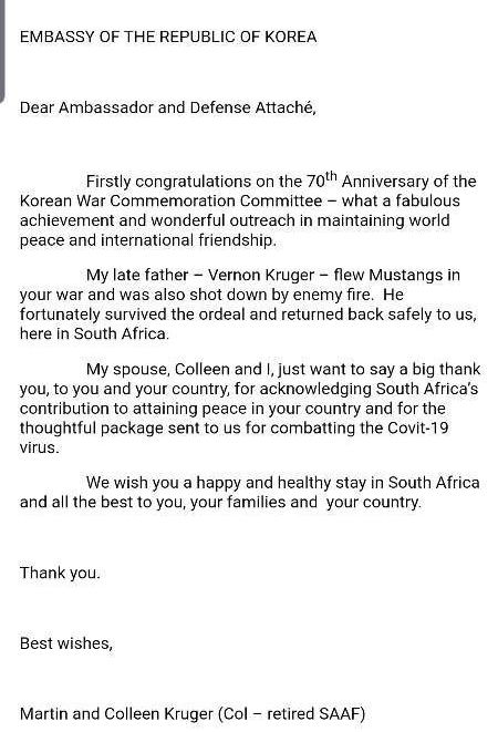 An email from veteran Vernon Kruger's family to the Korean Embassy in South Africa. [EMBASSY OF KOREA IN SOUTH AFRICA]