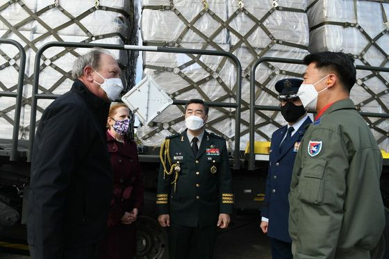 Masks from the Korean government to United States veterans of the Korean War arriving at Joint Base Andrews in Maryland on May 12. [EMBASSY OF KOREA IN THE UNITED STATES]