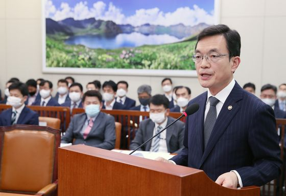 Vice Minister Cho Se-young speaks at the National Assembly in Seoul last week. [YONHAP]