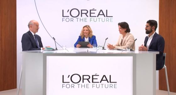 L'Oreal Chairman and CEO Jean-Paul Agon, left, and Alexandra Palt, L'Oreal's chief corporate responsibility officer, second from right, speak at the beauty giant's online event held Friday to share the company's sustainability program for the next decade. [SCREEN CAPTURE]
